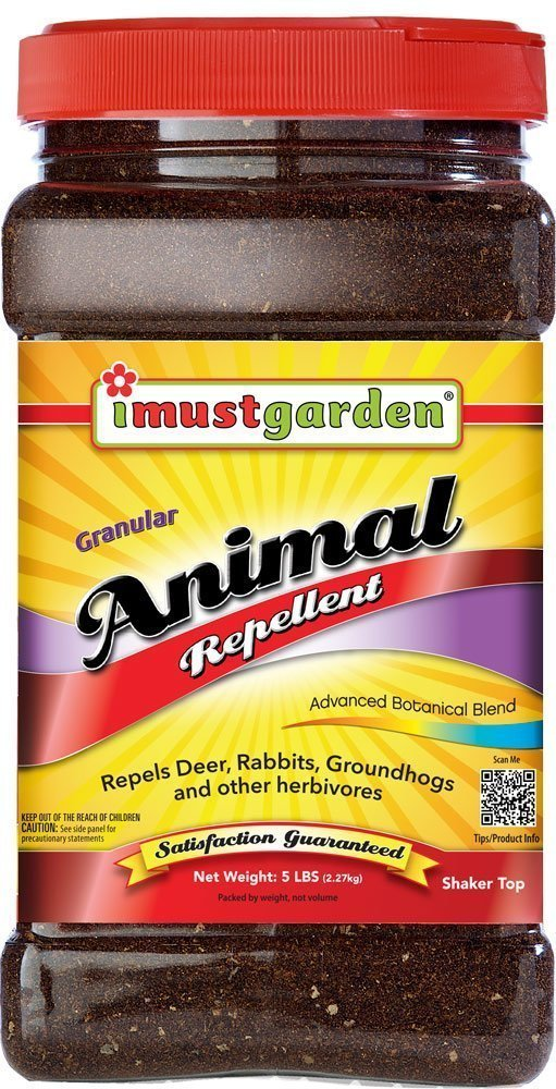 I Must Garden Granular Animal Repellent - 5lb Shaker Jar (Deer, Rabbit, Groundhog, and other Herbivores)