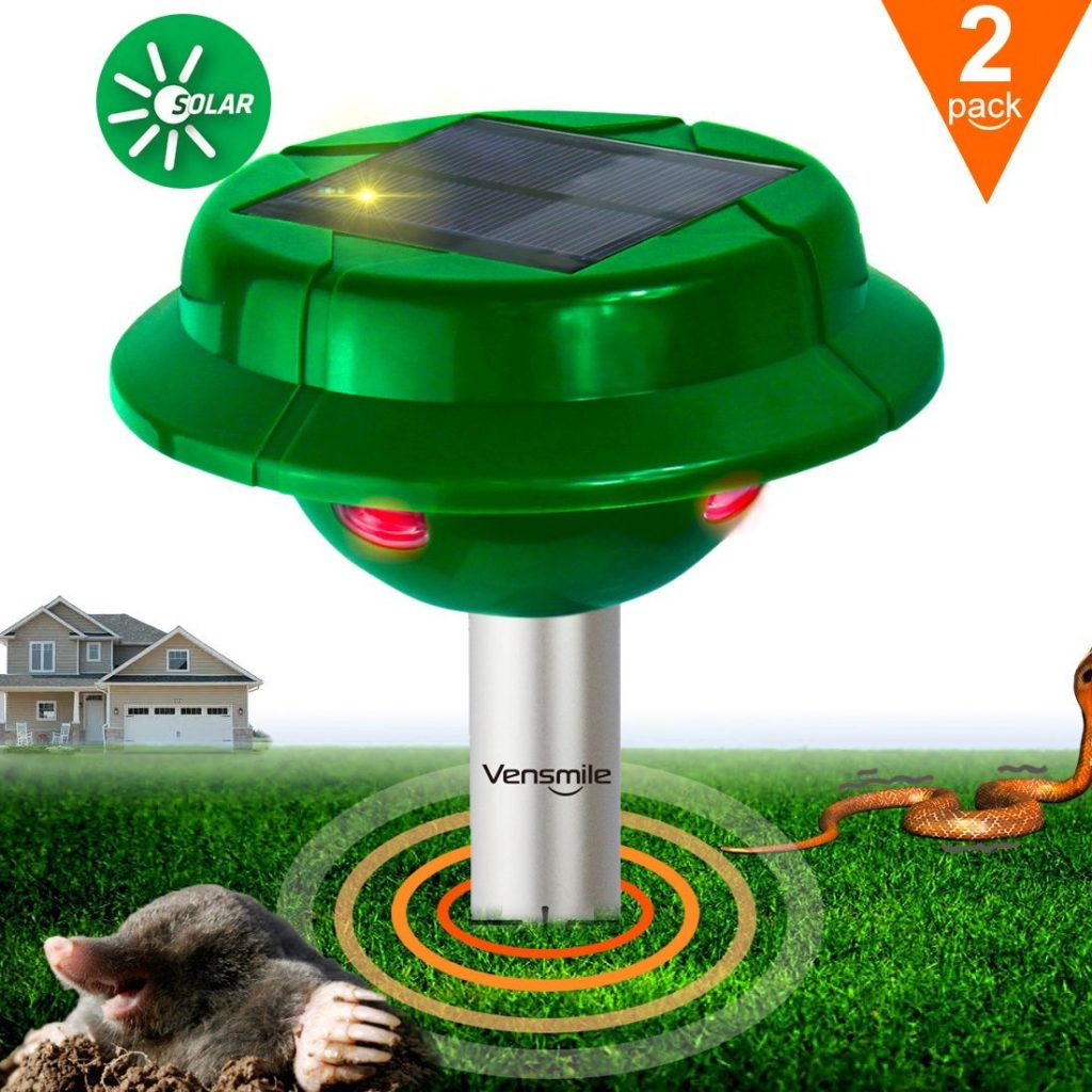 2 x Vensmile Solar Snake Repellent Mole Repeller Control Outdoor Rodent Gopher Vole Chaser for Garden Law Yard and Waterproof