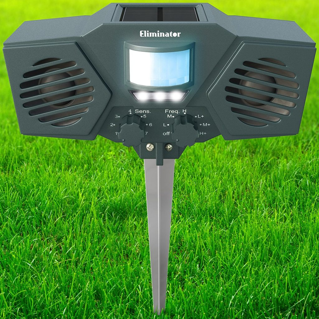 Eliminator Robust Electronic Solar Energy Outdoor Animal And Rodent Pest Repeller for Dogs, Cats, Deer, Birds, etc. [UPGRADED VERSION]