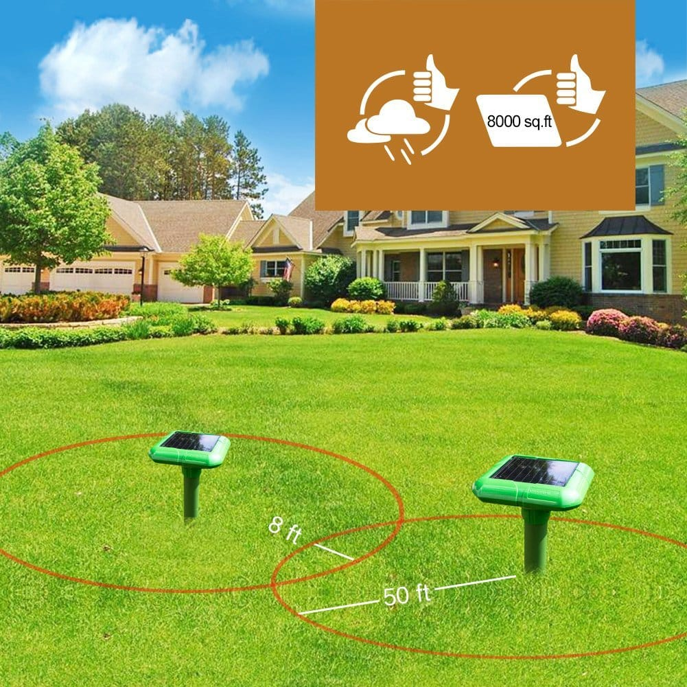 2 x Vensmile Solar Sonic Mole Repellent Gopher Repeller Repel Vole Rodent And Mice Deterrent Spike