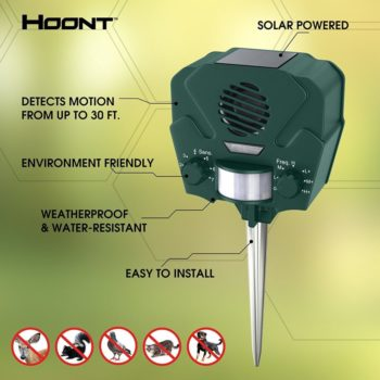 Hoont Advanced Solar Powered Ultrasonic Outdoor Animal and Pest Repeller + Flashing Strobe - Effectively scares Away All Outdoor Pests And Animals - Motion Activated [UPGRADED VERSION]