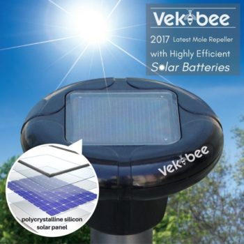 Vekibee Sonic Mole Repellent Pack of 4 Solar Powered Rodent Repellent Ultrasonic Pest Repeller Gopher Repeller Vole Chaser Pest Deterrent for Lawn Garden Yard Outdoor Pest Control