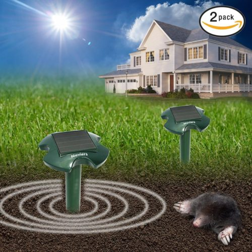 Solar Mole Repeller - 2-Pack - Sonic Powered Repellent Spike - Strong Deterrent For Mole, Rodent, Vole, Shrew, Gopher for Yard Lawn Garden, Safe For Human [2017 UPGRADED VERSION]