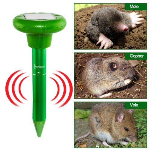 Redeo Mole Repeller Solar Mole Repellent Sonic Spike Mole Trap Gopher Vole Groundhog Rodent Chaser (Pack of 2)