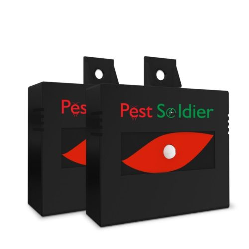 Nighttime Solar Powered Animal Repeller By Pest Soldier - 2 Pack, Waterproof, Deterrent Light Nocturnal Animals.Protects Home,Field,Livestock