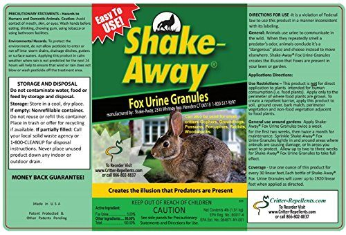 Shake-Away All Natural Small Critter Repellent for Rabbits, Gopher, Groundhogs, Possum, Porcupines, Woodchucks Other Small Animals (Fox Urine Granules) 4 LB (Pound) Size - Not 5 Lb