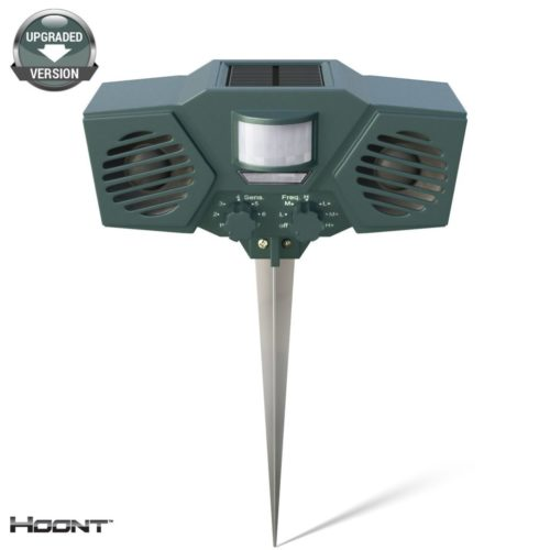 Hoont Robust Solar Battery Powered Ultrasonic Outdoor Animal & Pest Repeller - Motion Activated [UPGRADED VERSION]