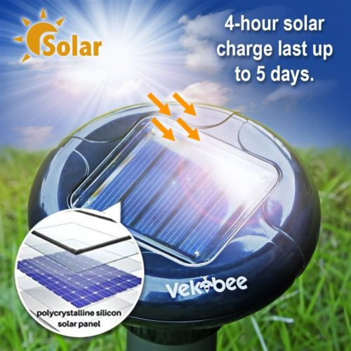 Vekibee Pack of 4 Solar Mole Repellent Electronic Mole Repeller Chaser Control Vole Rodent Gopher Repellent Ultrasonic Not Like Mole Killer Poison Mole Traps That Work Crue