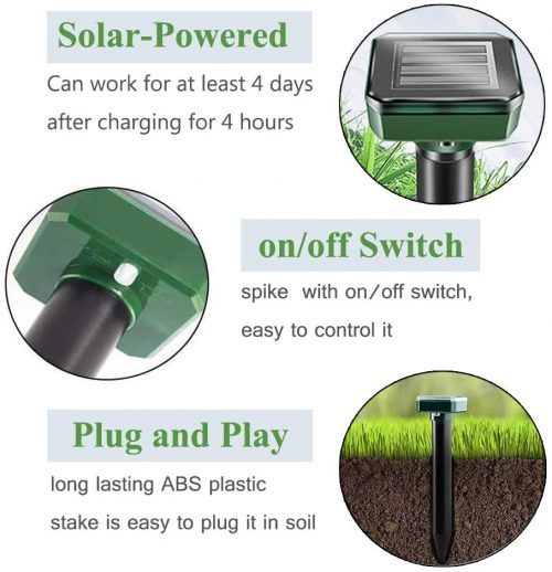 FUAJN Solar Mole Repellent,4 Pack,Outdoor Plug in Solar Mole Sonic Repeller,Groundhog Repellent Snake Rodent Gopher Spikes Chaser Pest Control for Lawn and Garden of Outdoor 3